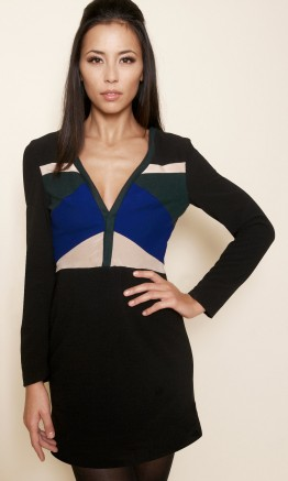 Mondefile robe-manches-longues-empiecement-laine-1